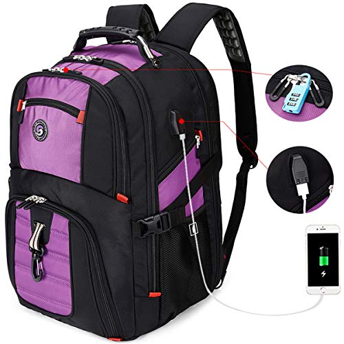 SHRRADOO Extra Large Durable 50L Travel Laptop Backpack School Backpack Travel Backpack College Bookbag with USB Charging Port fit 17 Inch Laptops for Men Women Including Lock Purple