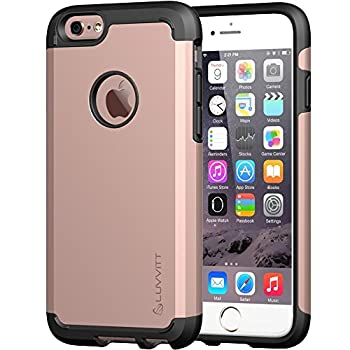 iPhone 6s Case LUVVITT [Ultra Armor] Shock Absorbing Case Best Heavy Duty Dual Layer Tough Cover for Apple iPhone 6 / iPhone 6s - Black/Rose Gold
