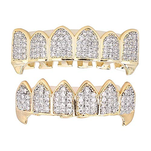 Diamant Gold Zähne, Gold Silber Zähne Grillz, vergoldete Hip Hop Zähne Grillz, Hip Hop Punk Custom Fit Zähne Grillz, Kappen Top & Bottom Grill Set abnehmbar, Bling Zähne Dekoration(Gold)