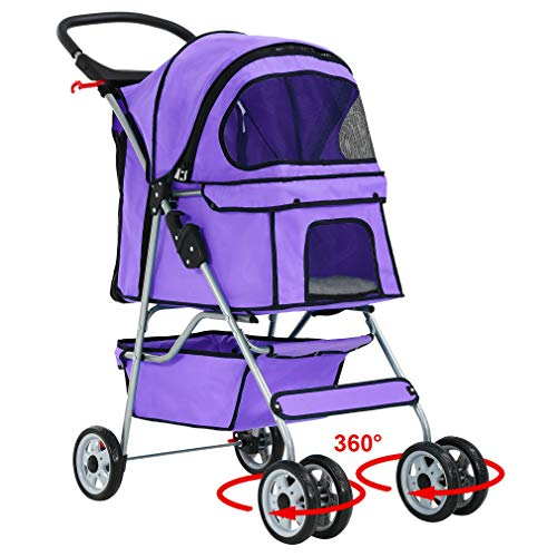 BestPet Pet Stroller Cat Dog Cage Stroller Travel Folding Carrier