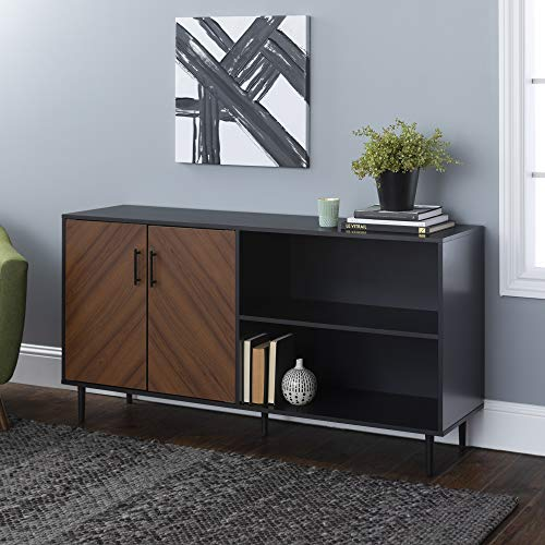 "Walker Edison Furniture Company Mid-Century Modern Chevron Wood Stand with Cabinet Doors for TV's up to 65"" Living Room Storage Shelves Entertainment Center, Single, Black"