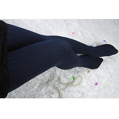 GGG Damen Mädchen Reizvoll Dicke Streifen Strümpfe Strumpfhosen Herbst Winter Strumpfwaren - Marineblau