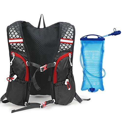 Festnight Mochila con Paquete de hidratación con vejiga de Agua 2L Chaleco de hidratación Transpirable súper Ligero para Correr en Bicicleta al Aire Libre