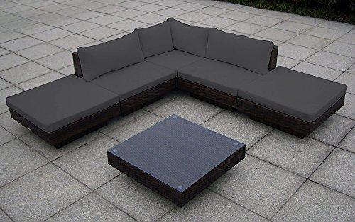 Baidani Rattan Garten Lounge Sunqueen, Braun meliert (Grau)