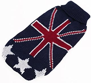 Enking Small Dog Puppy Knitted Turtleneck Sweater Clothes Union Jack Pattern (XXS)