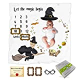 Baby Monthly Milestone Blanket/Large 47' x 47' Flannel Fleece Baby Blanket/Newborn Photography Backdrop with Certificate, Eyeglasses & Frame Props (Flying Wizard Blanket (NO Personalization))