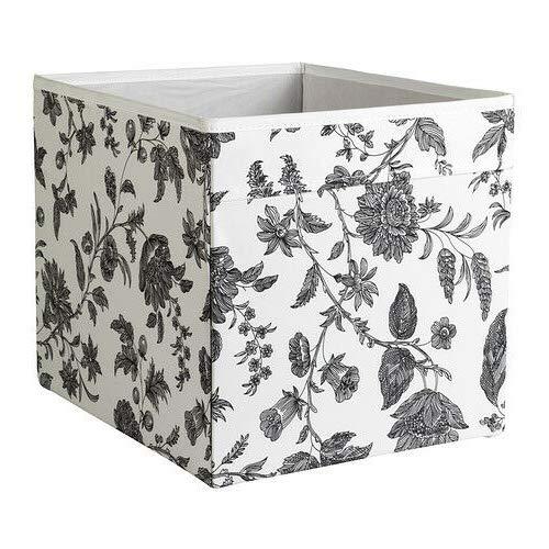 IKEA Dröna Aufbewahrungsbox für Kallax Regale Box Fach Kiste 33x38x33 cm (Geblümt Schwarz-Weiß)