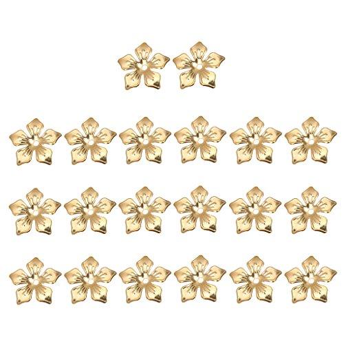 MagiDeal 100 Piezas de Metal Filigrana Flores Rebanada Encantos Ideal para Fabricación de Abalorios de 20mm - Oro, 20 mm