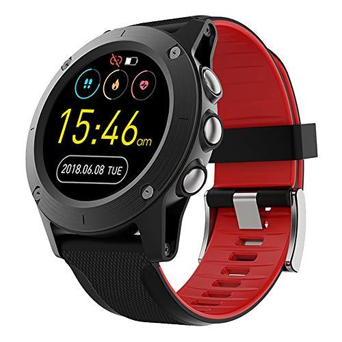 LHWQAN Outdoor-Sportuhr, Herzfrequenzsensor, Sportmetronom, Luftdrucküberwachung, Umgebungstemperatur, sehr geeignet zum Wandern, Bergsteigen, Klettern, Radfahren Black red