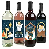 Big Dot of Happiness Holy Nativity - Manger Scene Religious Christmas Decorations for Women and Men - Wine Bottle Label Stickers - Set of 4