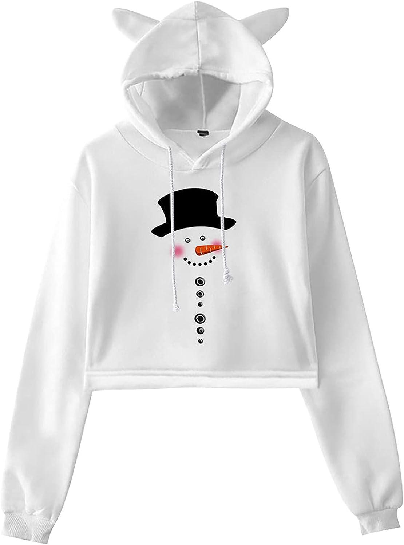 Womens Cat Ear Hooded Sweatshirt Christmas Printed Cropped Hoodie Drawstring Blouses Long Sleeve Pullover Tops