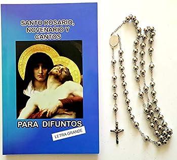 Santo Rosario Novenario y Cantos Para Difuntos  136 paginas  y Stainless Steel Rosario