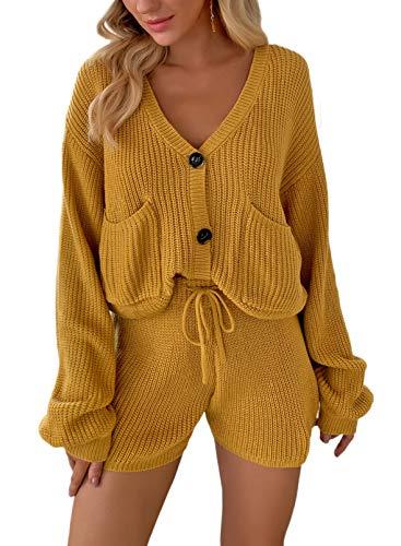FOBEXISS Chándal de 2 piezas para mujer, cuello en V, botones en V, bolsillos laterales, manga larga, túnica con cordón, pantalones cortos de punto, ropa para el hogar