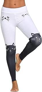 Women Leggings Yoga Sport Trousers Mid Waist Cat Print Color Block Skinny Fashion Pants