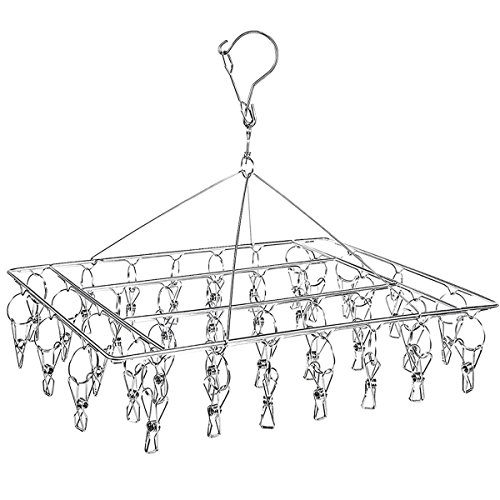 Sock Drying Racks Laundry Drip Hanger Rectangle with 30pcs Pegs Indoor Outdoor Clothesline Hanging Dryer Clothespins Drying Baby Clothes, Towels, Underwear, Lingerie (stainless steel sock dryer rack)