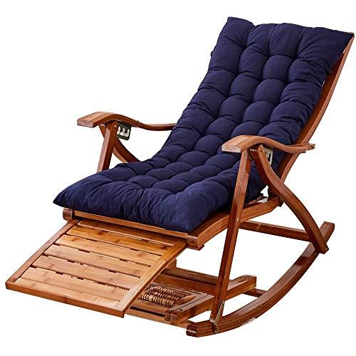 Bseack Chaise berçante, chaise longue multifonctionnelle en bois solide réglable avec la chaise berçante paresseuse extérieure de ménage de repose-pieds/salon (Couleur : A)