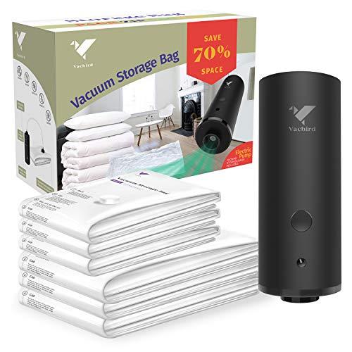 Vacbird - Sacchetto per sottovuoto con pompa elettrica, salvaspazio, riutilizzabile, per viaggi e uso domestico 1 pompa elettrica + 6 pezzi (3 x 40 x 60 cm + 3 x 50 x 70 cm).