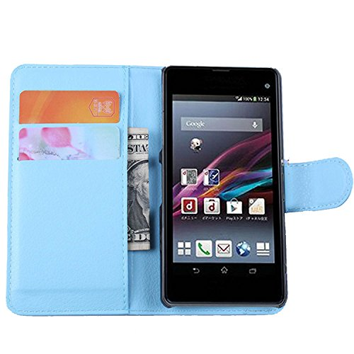 Ycloud Tasche für Sony Xperia Z1 Compact (4.3 Zoll) Hülle, PU Ledertasche Flip Cover Wallet Hülle Handyhülle mit Stand Function Credit Card Slots Bookstyle Purse Design blau