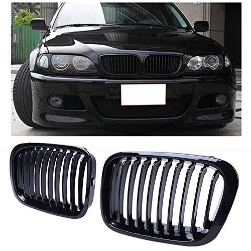 ZMMWDE Compatible con Parrillas Delanteras para riñón Negro Brillante 51138208489 5,para BMW E46 3 Series 320I 325I 325Xi 323I 328I 330I 4D 4 Puertas 1998-2001