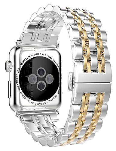 HUANLONG Latest Solid Stainless Steel Metal Replacement 7 Pointers Watchband Bracelet with Double Button Folding Clasp for Apple Watch iWatch, Silver/Gold, 42 mm