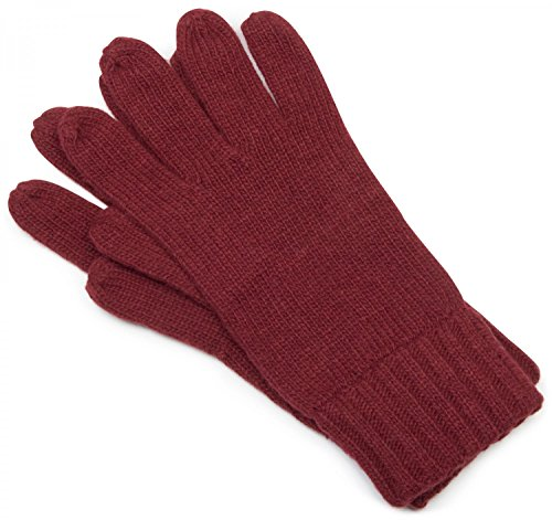 styleBREAKER klassische Handschuhe, warme Strickhandschuhe mit doppeltem Bund, einfarbig, Fingerhandschuhe, Unisex 09010005, Farbe:Dunkelrot;Größe:S-M