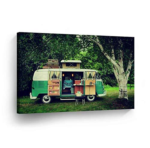 cwb2jcwb2jcwb2j Canvas Print Klassieke Volkswagen Van Camping Photo Home Decor Oude Vintage Bus Wall Art Gallery Ingelijst Klaar om op te hangen