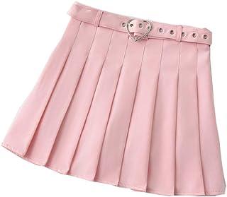 Harajuku - Minigonna a pieghe con cintura a forma di cuore e cintura con cintura e pantaloncini sicuri
