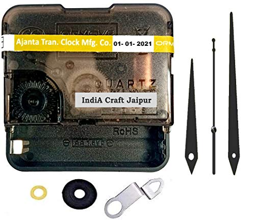 IndiA Craft Jaipur KDS Ajanta Mfg. Quartz Plastic Ticking Movement Machine for Wall Clock (Black)