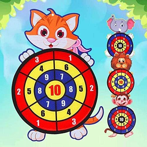 YYANG Best Sticky Darts Board Set Sports Toys Fabric Double Sided Ball Dart Board Set Kid Ball Target Game Children Security Toy Gift (Color : Cat)