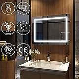 EMKE Wandspiegel Badezimmerspiegel LED Badspiegel mit Beleuchtung 80x60x4,5cm mit Touch-Schalter und...