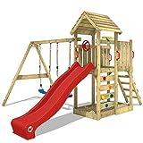 WICKEY Aire de jeux MultiFlyer Portique de jeux avec toit en bois pour jardin Tour de jeux avec balançoire et toboggan, mur d'escalade, toboggan rouge
