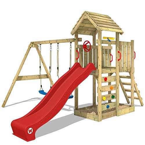 WICKEY Kletterturm MultiFlyer Spielturm mit Holzdach Garten-Spielplatz mit Schaukel und Rutsche, Kletterwand, rote Rutsche