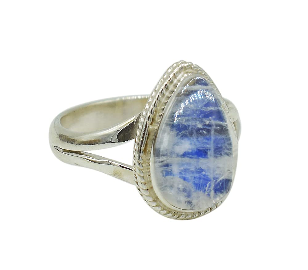 Smooth Pear Blue Fire store Rainbow Ring Minneapolis Mall Tiny Moonstone Silver