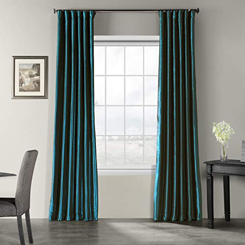 HPD Half Price Drapes PDCH-KBS27-84 Vintage Textured Faux Dupioni Silk Curtain (1 Panel), 50 X 84, Oceanside Blue