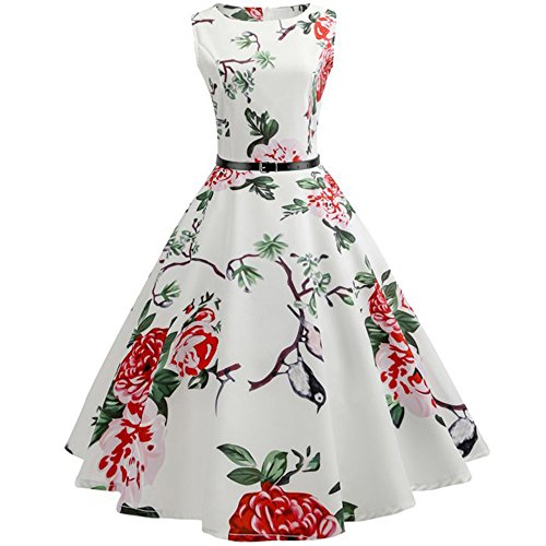 SUNNSEAN Damen Kleider Frauen Large Size Sleeveless Rundhalsausschnitt Vogel Retro Loses Beiläufiges Kleid Herbst Winter