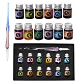Glass Dip Pen Ink Set,Calligraphy Pens Set for Beginners,Rainbow Crystal Pen with 12 Colorful Calligraphy Ink for Art,Writing,Drawing,Signatures,Decoration,Gift