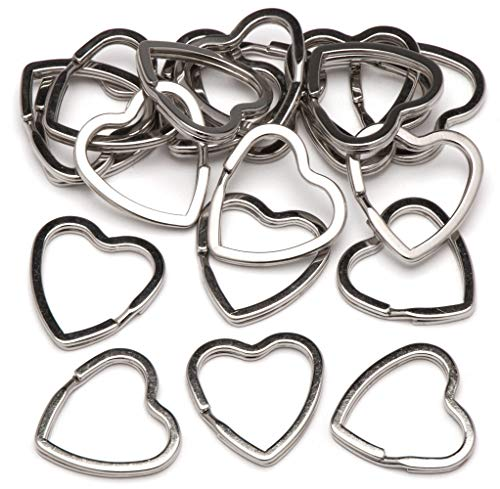 Baker Ross Schlüsselringe aus Metall in Herzform (20 Stück) – Schlüsselringe aus Metall perfekt zum Befestigen an Schlüsselanhängern
