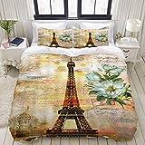 Funda nórdica, Vintage Torre Eiffel de París Flor Retro Sello Floral Blanco Romance Ciudad Creatividad Francia Paisaje Europeo, Juego de Cama Conjuntos de Lujo cómodos y livianos