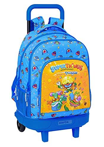 Safta Mochila Escolar con Carro Incluido y Espalda Acolchada de Superthings Serie 7, 330x220x450 mm, Azul/Multicolor