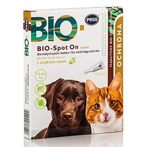 Pess Bio-Spot On – Natürliches Mittel gegen Zecken und Flöhe – Zeckenschutz für Hunde und Katzen auf Biologischer Basis – 4 x 2,5g Pipetten