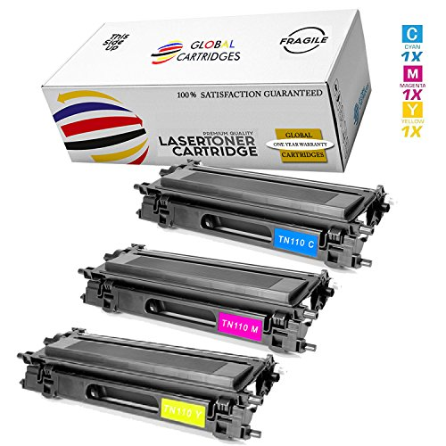 GLB Premium Quality High Yield Remanufactured Brother TN110 Toner Cartridges Color Set (Cyan, Yellow, Magenta)