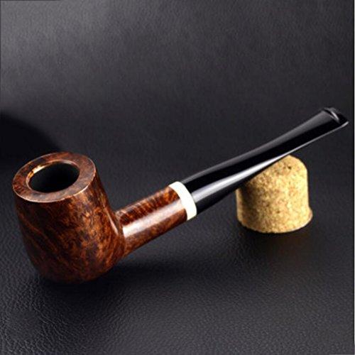 MXJ61 Pipa de tabaco piedra Nanmu hombres curvo madera sólida hecha a mano Retro fumar tubería edición estándar