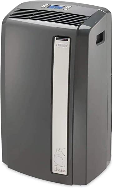 DeLonghi 4 In 1 Portable Air Conditioner Dehumidifer Heater Fan Arctic Cool Quiet Mode With Remote Control Wheels 500 Sq Ft Large Room Black