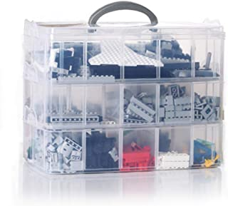 ISOTO 3 Tier Clear Plastic Stackable Storage Box With Adjustable Compartments Organizer storing Dimensions figures Sewing ...