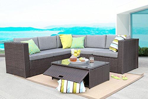 Baner Garden (K35-CH 4 Pieces Outdoor Furniture Complete Patio Cushion Wicker Rattan Garden Corner Sofa Couch Set, Chocolate