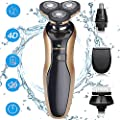 DAMONING Electric Shaver, 4D Rechargeable IPX7 Waterproof 4 in 1 Men's Rotary Shavers Wet and Dry Electric Shaving Razors with Pop-up Trimmer