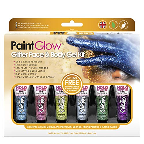 Paintglow - Kit Gel Glitter para Rostro y Cuerpo - 1 boxset