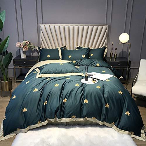 Bettwäsche Set,Amerikanische Idyllische Anlage Drucken Bettwäsche Blätter Dunkelgrün, Four-Piece Satz Home Textile Bettbezug Bettbezug Und Kopfkissenbezug, 2,0 M