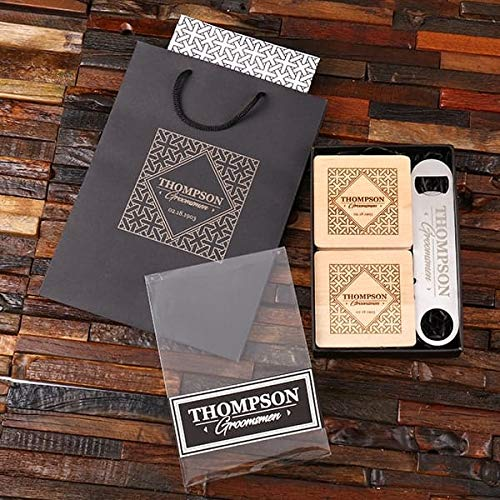 excellence Groom's City Barware Set Easy-to-use - Pro-Bottle Opener S Wood and Coasters