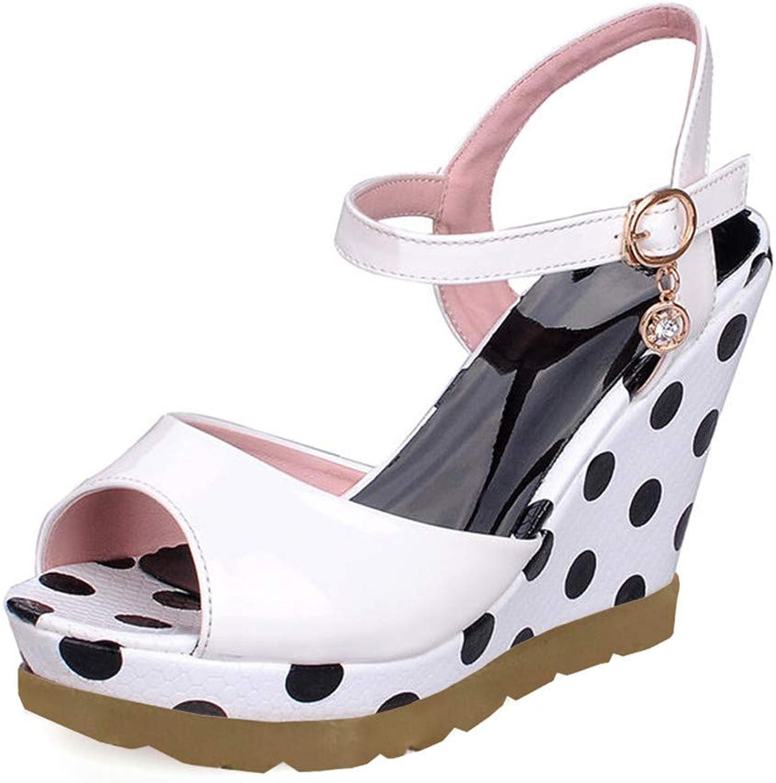 Women's Polka Dot High Heel Wedge Summer shoes Woman Ankle Strap Open Toe Platform Sandals